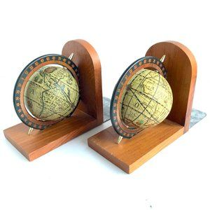 VINTAGE Old World Globe Spinning Compass Bookends